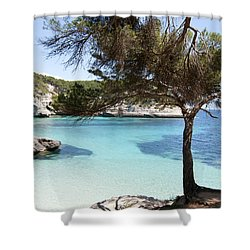 Paradise In Minorca Is Called Cala Mitjana Beach Where Sand Is Almost White And Sea Is A Deep Blue  Shower Curtain