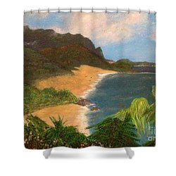 Shower Curtain featuring the painting Paradise by Vanessa Palomino