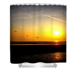 Paragliders At Sunset Shower Curtain