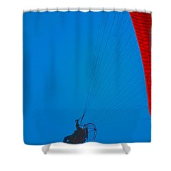 Paragliding Shower Curtain by Karol Livote