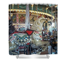 Paragon Carousel Nantasket Beach Shower Curtain by Barbara McDevitt