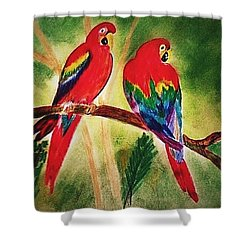 Parakeets In Paradise Shower Curtain