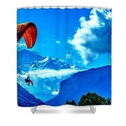Shower Curtain featuring the photograph Parasailing Swiss Alps by Joe  Ng