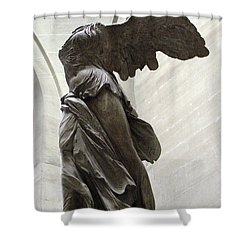 Paris Angel Louvre Museum- Winged Victory Of Samothrace Shower Curtain