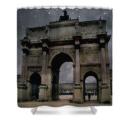 Paris Arc Du Carousel - Louvre Museum Arc De Triomphe - Starry Night Blue Paris Louvre Courtyard Shower Curtain by Kathy Fornal
