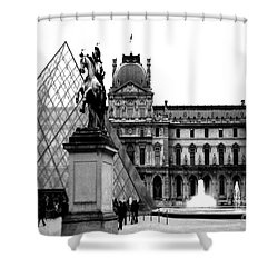 Paris Black And White Photography - Louvre Museum Pyramid Black White Architecture Landmark Shower Curtain by Kathy Fornal