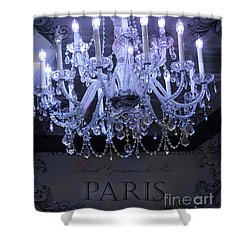 Paris Blue Crystal Chandelier Sparkling Chandelier Art - Paris Blue Shimmering Chandelier Art Deco  Shower Curtain by Kathy Fornal