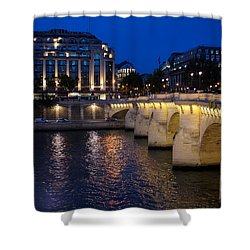 Paris Blue Hour - Pont Neuf Bridge And La Samaritaine Shower Curtain by Georgia Mizuleva