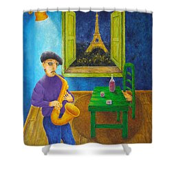 Paris Blues Shower Curtain by Pamela Allegretto