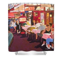 Paris Cafe At Dusk Shower Curtain