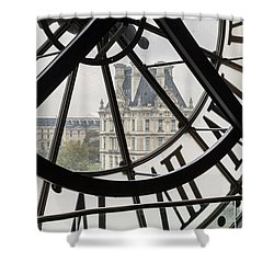 Paris Clock Shower Curtain