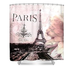 Paris Dreamy Eiffel Tower Montage - Paris Romantic Pink Sepia Eiffel Tower And Flower French Script Shower Curtain by Kathy Fornal