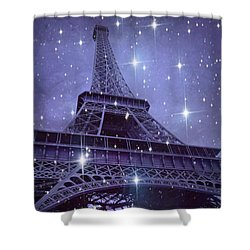 Paris Eiffel Tower Starry Night Photos - Eiffel Tower With Stars Celestial Fantasy Sparkling Lights  Shower Curtain by Kathy Fornal