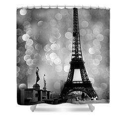Paris Eiffel Tower Surreal Black And White Photography - Eiffel Tower Bokeh Surreal Fantasy Night  Shower Curtain by Kathy Fornal