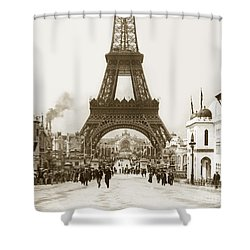 Shower Curtain featuring the photograph Paris Exposition Eiffel Tower Paris France 1900  Historical Photos by California Views Mr Pat Hathaway Archives