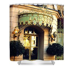 Paris Laduree French Bakery Patisserie - Champs Elysees Location Shower Curtain by Kathy Fornal