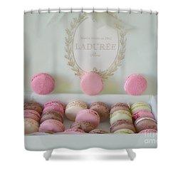 Paris Laduree Pastel Macarons - Paris Laduree Box - Paris Dreamy Pink Macarons - Laduree Macarons Shower Curtain