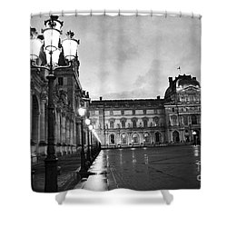 Paris Louvre Museum Lanterns Lamps - Paris Black And White Louvre Museum Architecture Shower Curtain by Kathy Fornal