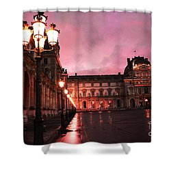 Paris Louvre Museum Night Architecture Street Lamps - Paris Louvre Museum Lanterns Night Lights Shower Curtain by Kathy Fornal