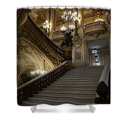 Paris Opera Garnier Grand Staircase - Paris Opera House Architecture Grand Staircase Fine Art Shower Curtain by Kathy Fornal