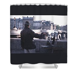 Paris Painter Inspiration Magritte Shower Curtain by Tom Wurl