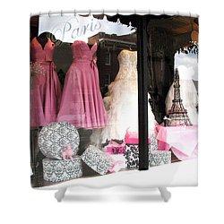 Paris Pink White Bridal Dress Shop Window Paris Decor Shower Curtain
