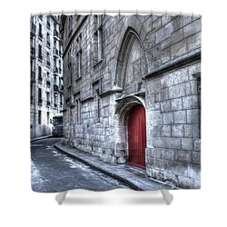 Paris Red Door Shower Curtain by Evie Carrier