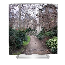 Paris Romantic Parks - Luxembourg Gardens - Medici Fountain Park - Pathway To Luxembourg Gardens Shower Curtain by Kathy Fornal
