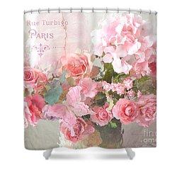 Paris Shabby Chic Dreamy Pink Peach Impressionistic Romantic Cottage Chic Paris Flower Photography Shower Curtain