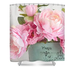 Paris Peonies Shabby Chic Dreamy Pink Romantic Cottage Floral Art Shower Curtain