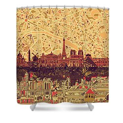 Paris Skyline Abstract Sepia Shower Curtain