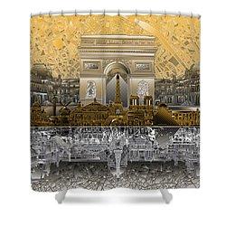 Paris Skyline Landmarks 5 Shower Curtain