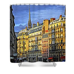 Paris Street At Sunset Shower Curtain by Elena Elisseeva