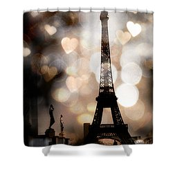 Paris Surreal Fantasy Sepia Black Eiffel Tower Bokeh Hearts And Circles - Paris Eiffel Tower Hearts  Shower Curtain