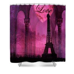 Paris Romantic Pink Fantasy Love Heart - Paris Eiffel Tower Valentine Love Heart Print Home Decor Shower Curtain