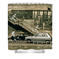 Paris Wall Shower Curtain by Thomas Marchessault