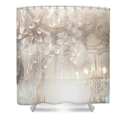 Paris Dreamy White Gold Ghostly Crystal Chandelier Mirrored Reflection - Paris Crystal Chandeliers Shower Curtain by Kathy Fornal