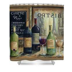 Paris Wine Tasting Shower Curtain by Marilyn Dunlap