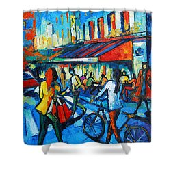 Parisian Cafe Shower Curtain by Mona Edulesco