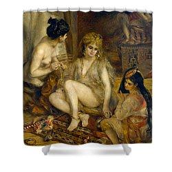 Parisiennes In Algerian Costume Or Harem Shower Curtain by Pierre-Auguste Renoir