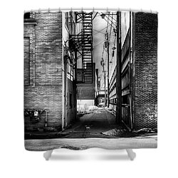 Park Alley Sunset Shower Curtain by Bob Orsillo