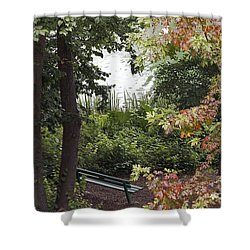 Shower Curtain featuring the photograph Park Bench by Kate Brown