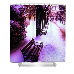 Shower Curtain featuring the photograph Park Benches In Snow by Nina Ficur Feenan