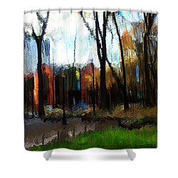 Shower Curtain featuring the mixed media Park Block I by Terence Morrissey