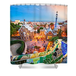 Park Guell In Barcelona - Spain Shower Curtain by Luciano Mortula