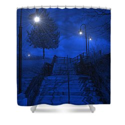 Shower Curtain featuring the photograph Park Stairs by Michael Rucker