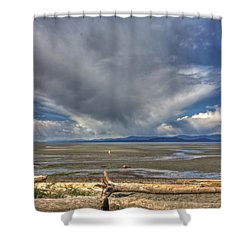 Parksville Beach - Low Tide Shower Curtain by Randy Hall