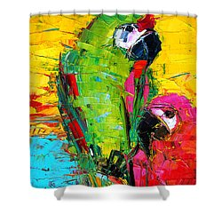 Parrot Lovers Shower Curtain by Mona Edulesco