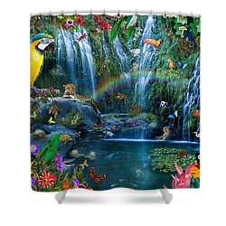 Parrot Tropics Shower Curtain by Alixandra Mullins