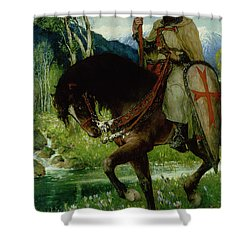 Parsifal In Quest Of The Holy Grail Shower Curtain by Ferdinand Leeke
